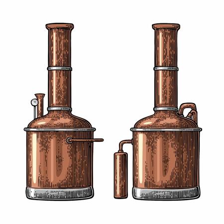 Rij van tanks in de brouwerij fabriek bier. Geïsoleerd op een witte achtergrond. Vintage kleurengravure illustratie voor het web, affiche, etiket, uitnodiging om oktoberfest festival en feest.