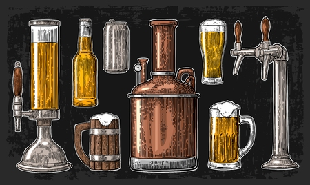 Beer set with tap, class, can, bottle and tanks from brewery factory. Vintage engraving illustration for web, poster, invitation to beer party. Isolated on dark background.