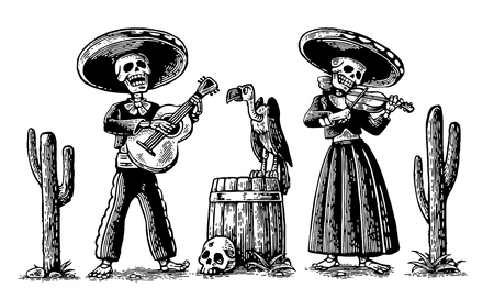 ballad: Day of the Dead, Dia de los Muertos. The skeleton in the Mexican national costumes dance, sing and play the guitar, violin.  vintage engraving for poster, label. Isolated on white background