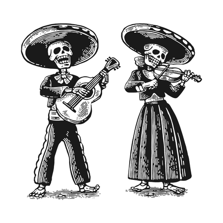 Day of the Dead, Dia de los Muertos. The skeleton in the Mexican national costumes dance, sing and play the guitar, violin.   vintage engraving for poster, label. Isolated on white background Illustration