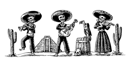 Dag van de Doden, Dia de los Muertos. Het skelet in de Mexicaanse nationale klederdracht dansen, zingen en spelen gitaar, viool, trompet. Griffin op vat met schedel, cactus.vintage graveren
