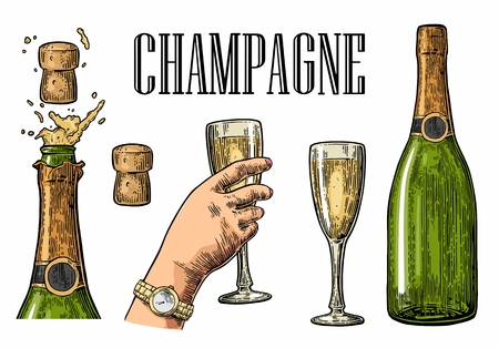 Bottle of Champagne explosion and hand hold glass. Vintage color engraving illustration for web, poster, invitation to beer party. design element isolated on white background. Vettoriali