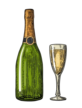 Champagne glass and bottle. Vintage color engraving illustration for web, poster, invitation to party.  design element isolated on white background.
