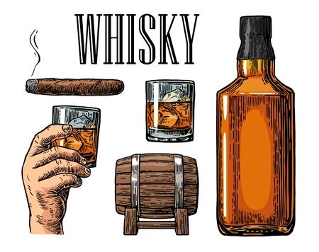 Whiskey-Glas mit Eiswürfeln, Fass, Flasche und Zigarre. Jahrgang Farbe Abbildung für Etikett, Plakat, Einladung zu einer Party. Isoliert auf weißem Hintergrund. Design-Element. Vektorgrafik