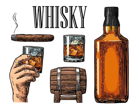 Whiskey glass with ice cubes, barrel, bottle and cigar. vintage color illustration for label, poster, invitation to a party. Isolated on white background.  design element. Reklamní fotografie - 63905868
