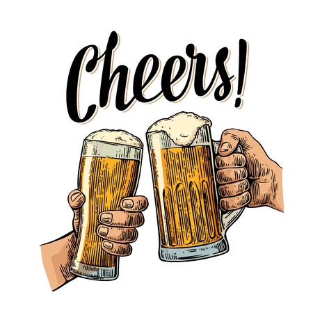 Two hands holding and clinking with two beer glasses mug. Cheers toast lettering. Vintage color engraving illustration for web, poster, invitation to beer party. Isolated on white background.