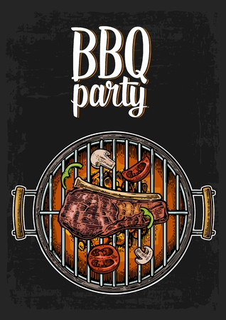 Barbecue grill top view with charcoal, mushroom, tomato, pepper and beef steak. Lettered text BBQ party. Vintage color engraving illustration. Isolated on white background.