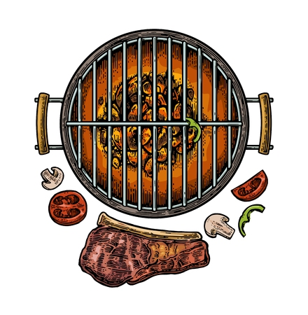 strip a cow: Barbecue grill top view with charcoal, mushroom, tomato, pepper and beef steak. Vintage color engraving illustration. Isolated on white background. Illustration