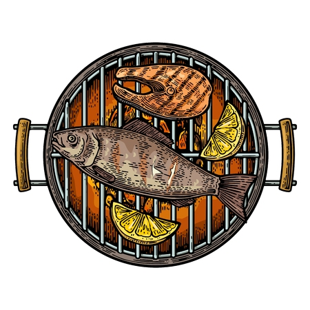 Barbecue grill top view with charcoal, fish steak and lemon. Vintage color engraving illustration. Isolated on white background. Illustration
