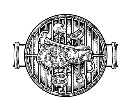 strip a cow: Barbecue grill top view with charcoal, mushroom, tomato, pepper and beef steak. Vintage black engraving illustration. Isolated on white background. Illustration