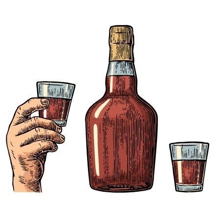 Rum bottle and hand holding glass. Vintage color engraving illustration for label, poster, invitation to party and birthday. Isolated on white background Illustration