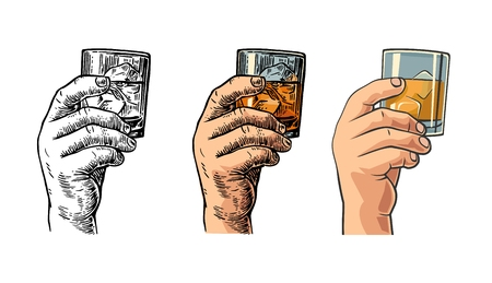 bourbon: Male hand holding a glass with whiskey and ice cubes. Drawing in three graphic styles. Vintage engraving and flat illustration for web, poster, invitation to party and birthday. Illustration