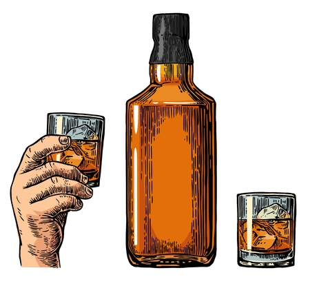 Whiskey bottle and hand holding glass. Vintage color  engraving illustration for label, poster, invitation to party and birthday. Isolated on white background