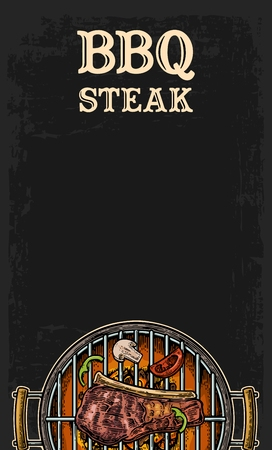 grill meat: Barbecue grill top view with charcoal, mushroom, tomato, pepper and beef steak. Lettered text BBQ steak. Vintage black vector engraving illustration. Isolated on dark background. For menu