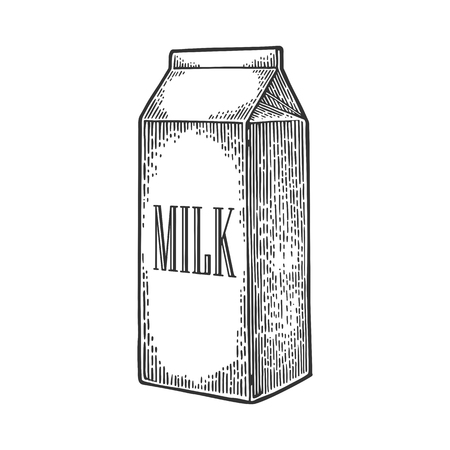 Box carton package. Lettered text MILK. Vector engraving vintage black illustration. Isolated on white background.