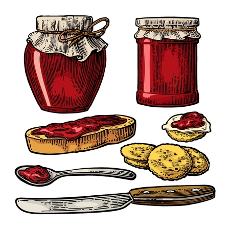 marmalade: Jar with packaging paper, spoon, knife and slice of bread with jam. Isolated on white background. Vector color vintage engraving illustration for menu