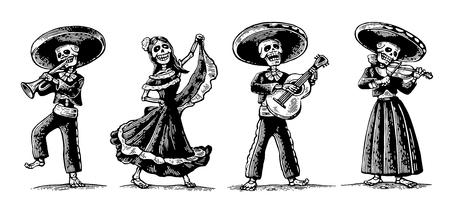Dag van de Doden, Dia de los Muertos. Het skelet in de Mexicaanse nationale klederdracht dansen, zingen, gitaar spelen, viool, trompet. Vector gravure voor poster, label. Geïsoleerde witte achtergrond