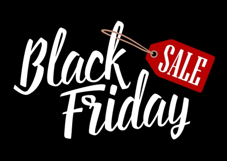 Lettered text Black Friday with hanging sale tag. Vector color vintage engraved illustration. Isolated on black background.
