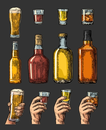 Set alcohol drinks with bottle, glass and hand holding beer, whiskey, tequila. Vintage color vector engraving illustration for label, poster, invitation to party. Isolated on dark background