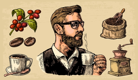 coffee sack: Hipster barista holding a cup of hot coffee. Sack with coffee beans with wooden scoop and beans, cup, branch with leaf and berry. Vintage color vector engraving illustration. Isolated on beige background.