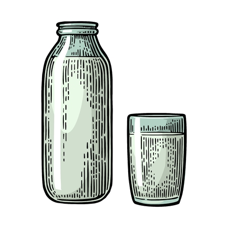 pasteurized: Milk glass and bottle. Vector engraving vintage color illustration. Isolated on white background. Illustration