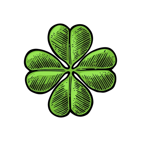 four objects: Good luck four leaf clover. Vintage color vector engraving illustration for info graphic, poster, web. Isolated on white background.
