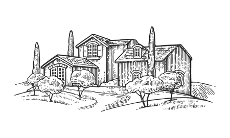 cypress tree: Rural landscape with villa or farm with field, olive tree and cypress. Vector engraving vintage black illustration. Isolated on white background. Illustration