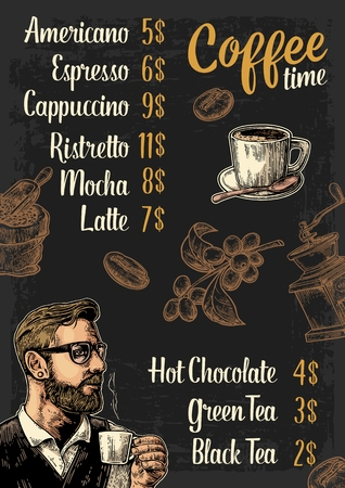 coffee berry: Restaurant or cafe menu coffee drink with price. Hipster barista holding a cup, sack with scoop, beans, branch with leaf and berry. Vintage color vector engraving illustration on dark background. Illustration