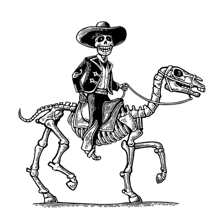 The rider in the Mexican man national costumes galloping on skeleton horse. Day of the Dead, Dia de los Muertos. Vector hand drawn vintage engraving for poster, label. Isolated on white background Illustration