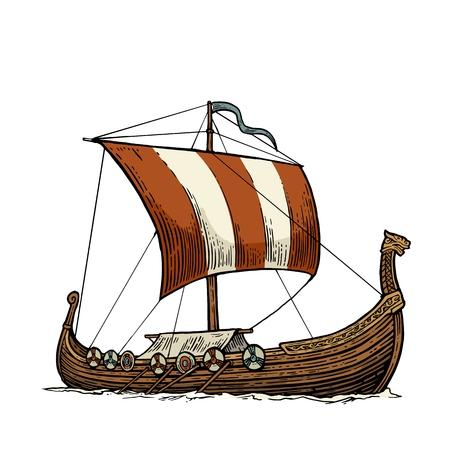Drakkar floating on the sea waves. Hand drawn design element sailing ship. Vintage color vector engraving illustration for poster, label, postmark. Isolated on white background