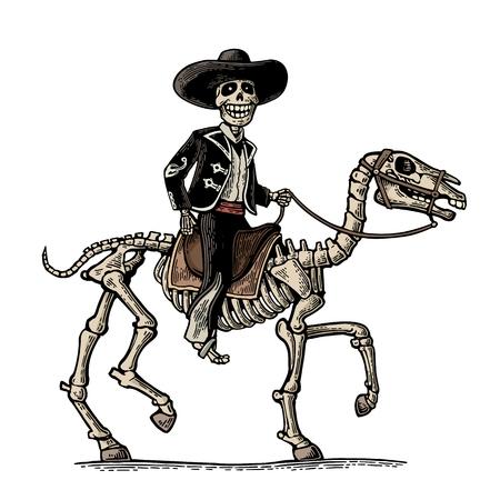 Jeździec w meksykańskich kostiumach narodowych ludzi, którzy galopują na koniu szkieletowym. Dzień Zmarłych, Dia de los Muertos. Wektor ręcznie narysowany kolorowy rocznika grawerowanie plakat, etykieta. Samodzielnie na białym tle