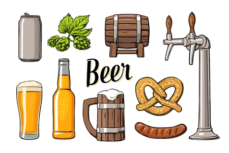 Beer set with tap, class, can, bottle, barrel, sausage, pretzel and hop. Vintage vector flat illustration for web, poster. Isolated on white background.