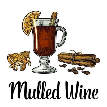 Mulled wine with glass and ingredients. Cinnamon stick, clove and cardamom. Isolated on white background. Vector color vintage engraving illustration. Hand drawn lettering for label and poster