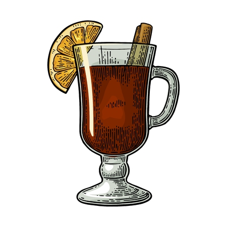 Mulled wine with glass and ingredients. Cinnamon stick and lemon slice. Isolated on white background. Vector color vintage engraving illustration. Hand drawn lettering for label and poster Illustration