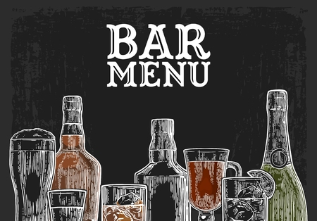 Template for Bar menu alcohol drink. Bottle and glass beer, gin, wine, whiskey, tequila. Vintage color vector engraving illustration for label, poster, invitation to party. Isolated on dark chalkboard Иллюстрация
