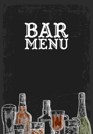 Template for Bar menu alcohol drink. Bottle and glass beer, gin, wine, whiskey, tequila. Vintage color vector engraving illustration for label, poster, invitation to party. Isolated on dark chalkboard Vettoriali