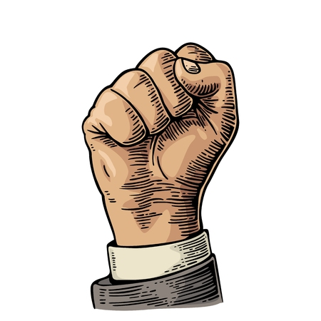 revolt: Human hand with a clenched fist. Vector color vintage engraved illustration isolated on a white background. Hand sign for web, poster, info graphic