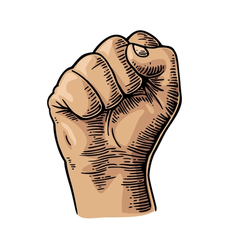 Human hand with a clenched fist. Vector color vintage engraved illustration isolated on a white background. Hand sign for web, poster, info graphic