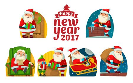 stovepipe hat: Santa Claus and elf. Set flat vector illustration Illustration