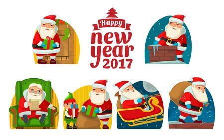 mantelpiece: Santa Claus and elf. Set flat vector illustration Illustration