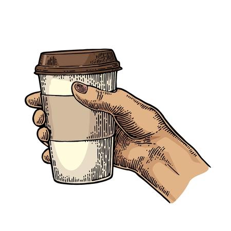 Mano femenina que sostiene un vaso desechable de café con el soporte de cartón y la tapa. ilustración de la vendimia grabado de color del vector de la etiqueta, web, flayer. Aislado en el fondo blanco Ilustración de vector