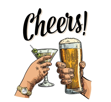 Female and male hands holding and clinking two glasses with beer and cocktail. Cheers toast lettering. Vintage vector color engraving illustration for invitation to party. Isolated on white background Illustration