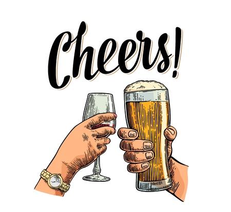 Weibliche und männliche Hand in Hand und Klirren zwei Gläser mit Bier und Wein. Prost Toast Schriftzug. Vintage-Vektor-Farbstich Illustration für die Einladung zu feiern. Isoliert auf weißem Hintergrund