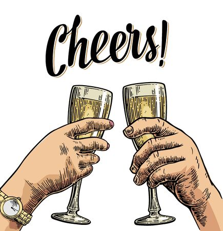 Female and male hands holding and clinking with two glasses champagne. Cheers toast lettering. Vintage vector color engraving illustration for poster, invitation to party. Isolated on white background Illustration