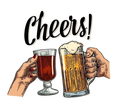 vaso de precipitado: Mujeres y hombres manos sosteniendo y el tintineo con dos vasos de cerveza y vino caliente. ¡Salud brindan por las letras. ilustración de la vendimia grabado de color vectorial para la web, cartel, invitación a la fiesta de la cerveza. Aislado en el fondo blanco.
