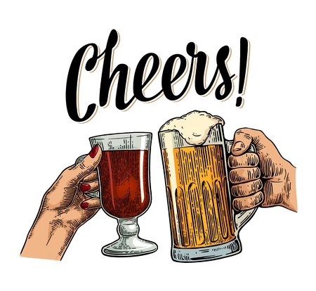 Female and male hands holding and clinking with two glasses beer and mulled wine. Cheers toast lettering. Vintage vector color engraving illustration for web, poster, invitation to beer party. Isolated on white background.