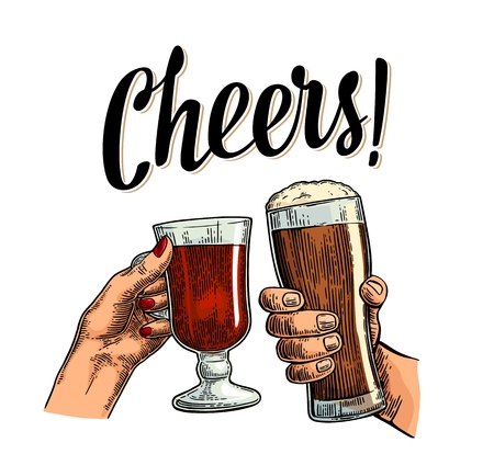 Female and male hands holding and clinking with two glasses dark beer and mulled wine. Cheers toast lettering. Vintage vector color engraving illustration for web, poster. Isolated on white background Illustration