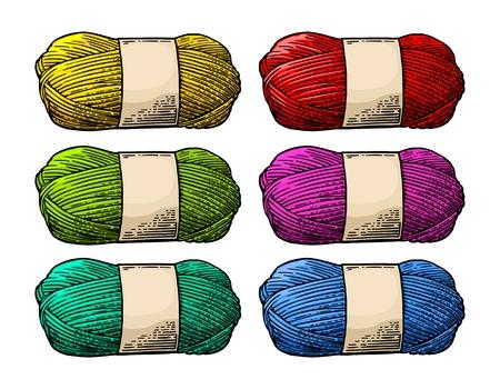 Det color roll yarn with woolen thread knitting. Vintage engraving Illustration