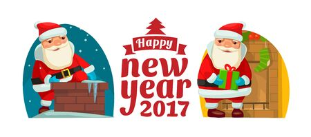 stovepipe hat: Santa Claus climbed the Chimney. Flat vector illustration for New Year and Merry Christmas.