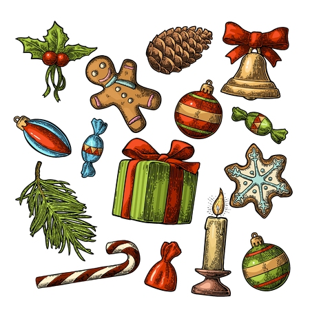 Merry Christmas and Happy New Year set. Gingerbread man, pine cone, candy, mistletoe, candle, fir branch, bell, star, toy. Isolated on white background. Vector vintage color engraving illustration